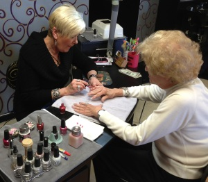Amy with customer