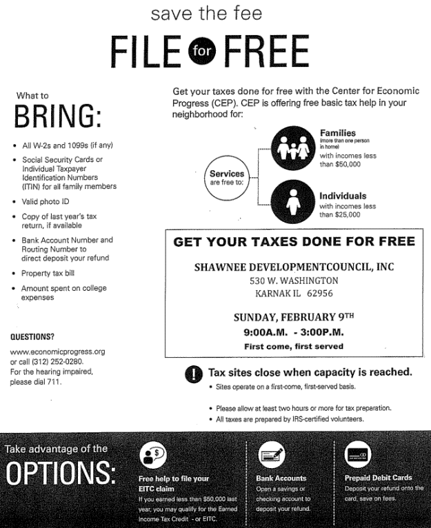 Tax Free Preparation for those who qualify in at Shawnee Development Council in Karnak.