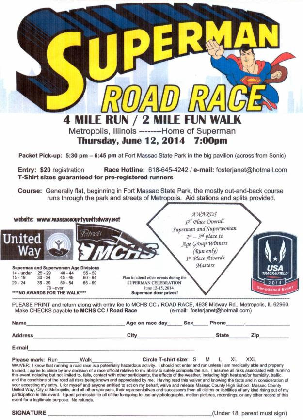 Superman Road Race 2014 entry form image