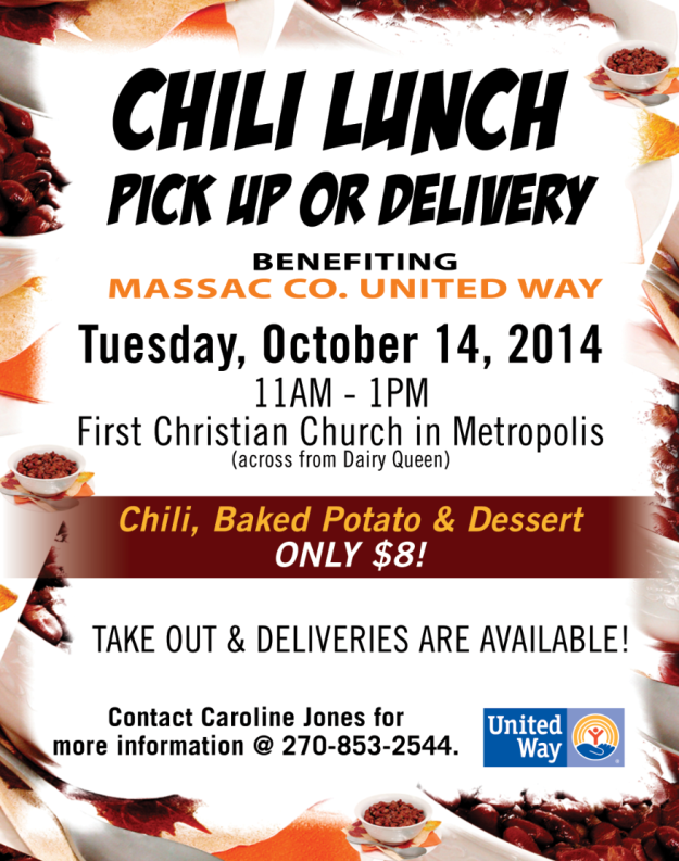 United Way Chili Lunch, Tue. Oct. 14, 11 am - 1 pm, First Christian Church. Pick up or delivery.. 270-853-2544