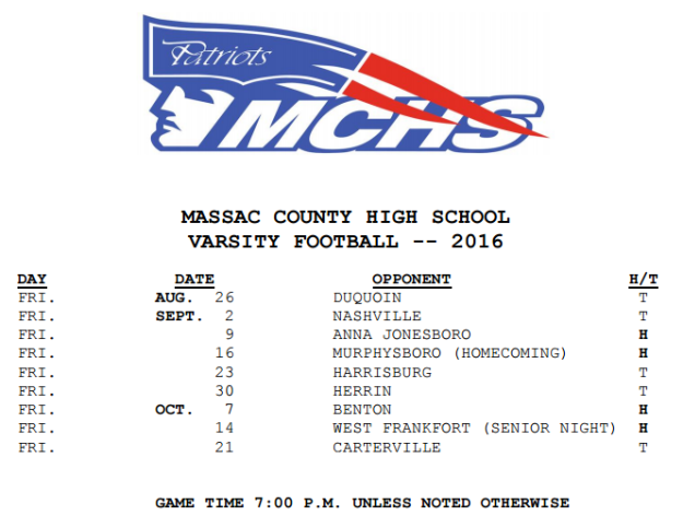 Patriot Football Schedule 2016